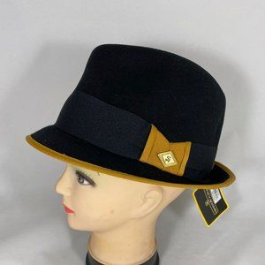 STACY ADAMS Pinch Front  Fedora Hat SA584 DIJON